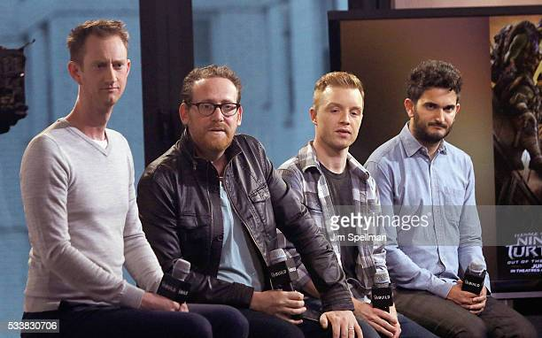 Actor Jeremy Howard writer Josh Appelbaum actor Noel Fisher and director David Green attend AOL Build Presents cast and director of 'TMNT 2' at AOL...