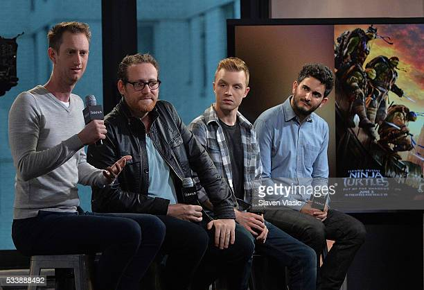 Actor Jeremy Howard writer Josh Appelbaum actor Noel Fisher and director David Green attend 'AOL Build Presents Cast And Director Of 'TMNT 2' at AOL...