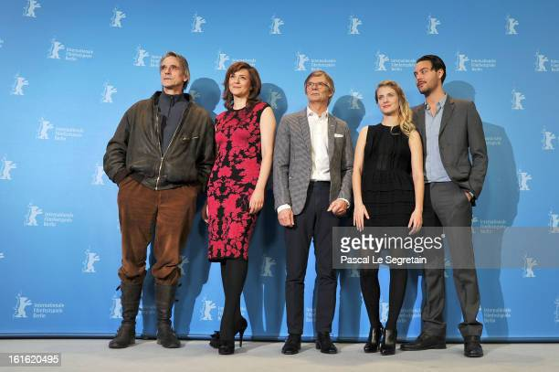 Actor Jeremy Irons actress Martina Gedeck director Bille August actress Melanie Laurent and actor Jack Huston attends the 'Night Train to Lisbon'...