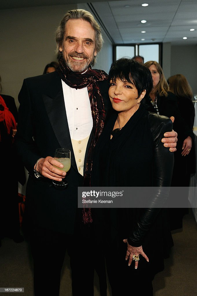 Actor <a gi-track='captionPersonalityLinkClicked' href=/galleries/search?phrase=Jeremy+Irons&family=editorial&specificpeople=203309 ng-click='$event.stopPropagation()'>Jeremy Irons</a> and <a gi-track='captionPersonalityLinkClicked' href=/galleries/search?phrase=Liza+Minnelli&family=editorial&specificpeople=121547 ng-click='$event.stopPropagation()'>Liza Minnelli</a> attend the Grey Goose cocktail reception of The Film Society of Lincoln Center's 40th Chaplin Award Gala at Avery Fisher Hall, Lincoln Center on April 22, 2013 in New York City.