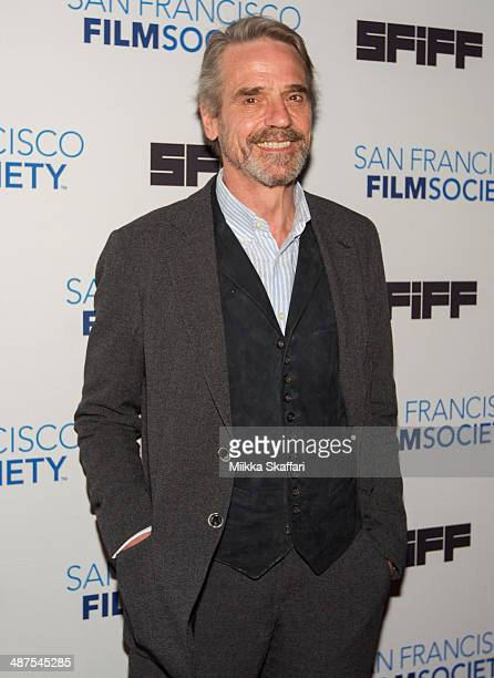 Actor Jeremy Irons arrives to receive the Peter J Owens Award at the San Francisco International Film Festival on April 30 2014 in San Francisco...