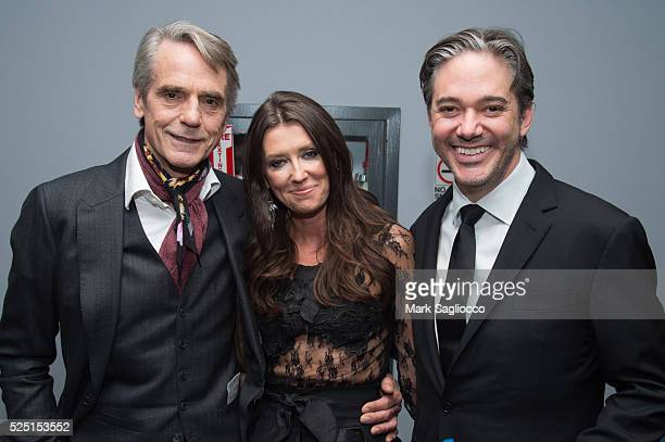 Actor Jeremy Irons Artist Melissa Herrington and Director/Writer Matt Brown attend 'The Man Who Knew Infinity' New York Screening at the Chelsea Bow...