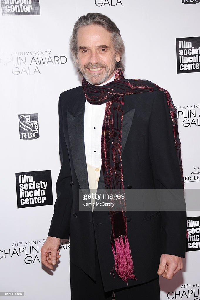 Actor Jeremy Irons attends the 40th Anniversary Chaplin Award Gala at Avery Fisher Hall at Lincoln Center for the Performing Arts on April 22, 2013 in New York City.