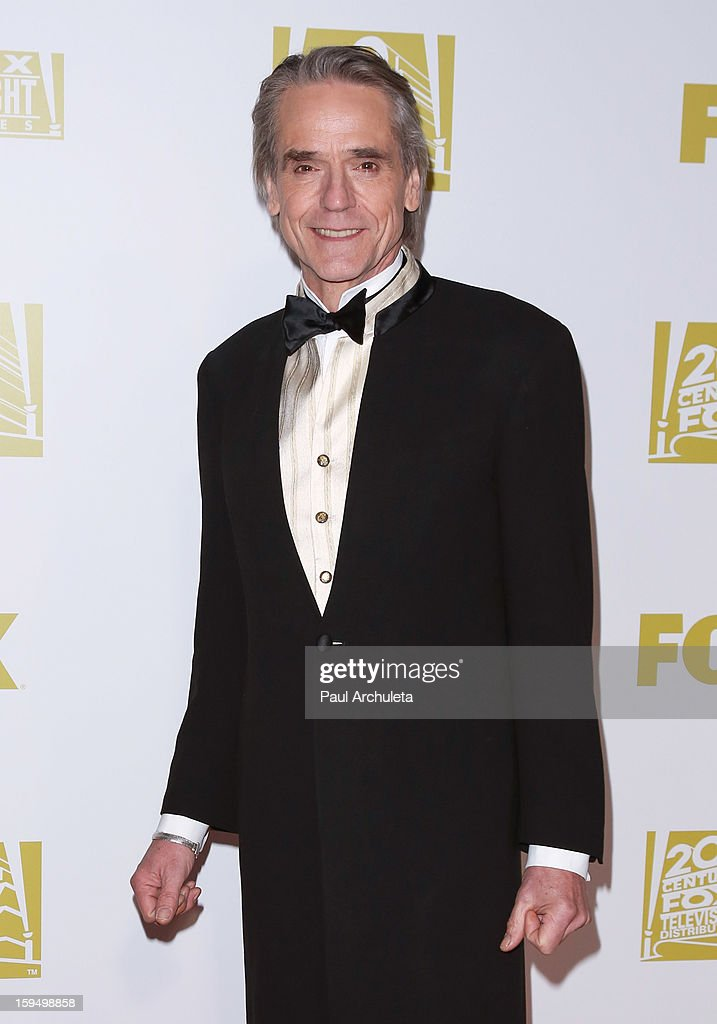 Actor <a gi-track='captionPersonalityLinkClicked' href=/galleries/search?phrase=Jeremy+Irons&family=editorial&specificpeople=203309 ng-click='$event.stopPropagation()'>Jeremy Irons</a> attends the FOX after party for the 70th Golden Globes award show at The Beverly Hilton Hotel on January 13, 2013 in Beverly Hills, California.