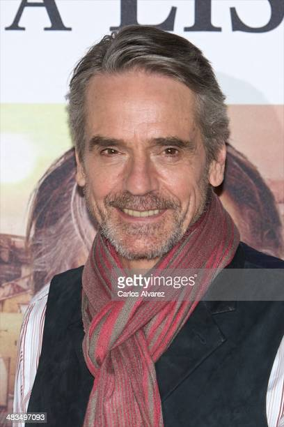 Actor Jeremy Irons attends the 'Night Train to Lisbon' photocall at the Ritz Hotel on April 9 2014 in Madrid Spain