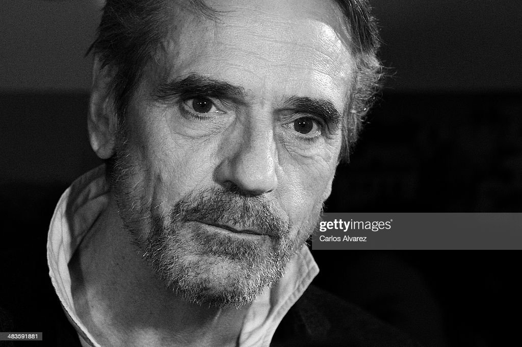 Actor <a gi-track='captionPersonalityLinkClicked' href=/galleries/search?phrase=Jeremy+Irons&family=editorial&specificpeople=203309 ng-click='$event.stopPropagation()'>Jeremy Irons</a> attends the 'Night Train to Lisbon' (Tren de Noche a Lisboa) premiere at the Palafox cinema on April 9, 2014 in Madrid, Spain.