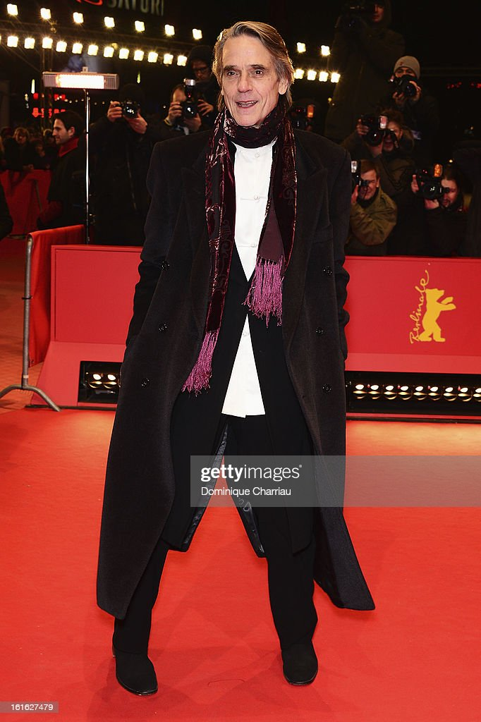 Actor Jeremy Irons attends the 'Night Train to Lisbon' Premiere during the 63rd Berlinale International Film Festival at the Berlinale Palast on...