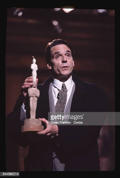 Actor Jeremy Irons during his Saturday Night Live monologue makes comic references to his Oscar nomination for Best Actor as Claus Von Bulow He would...