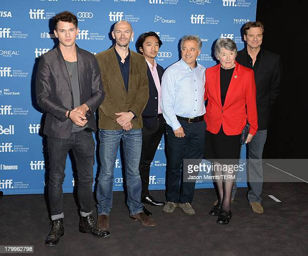 R Actor Jeremy Irvine director Jonathan Teplitzky actor Tanroh Ishida screenwriter Frank Cottrell Boyce Patti Lomax and actor Colin Firth attend 'The...