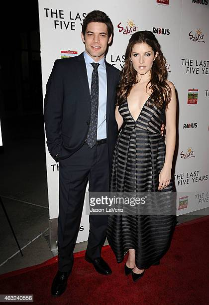 Actor Jeremy Jordan and actress Anna Kendrick attend the premiere of 'The Last Five Years' at ArcLight Hollywood on February 11 2015 in Hollywood...