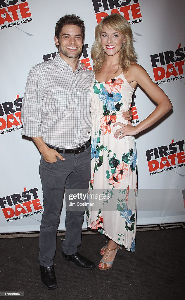 Actor Jeremy Jordan and wife Ashley Spencer attend 'First Date' Broadway Opening Night at Longacre Theatre on August 8, 2013 in New York City.