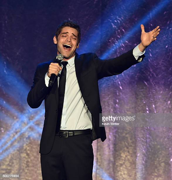 Actor Jeremy Jordan performs onstage during TrevorLIVE LA 2015 at Hollywood Palladium on December 6 2015 in Los Angeles California