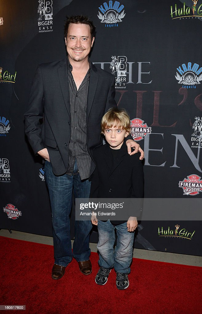 Actor Jeremy London (L) and his son Lyrik London arrive at the Los Angeles Premiere of 'The Devil's Dozen' at Mann's Chinese 6 Theatres on February 1, 2013 in Hollywood, California.