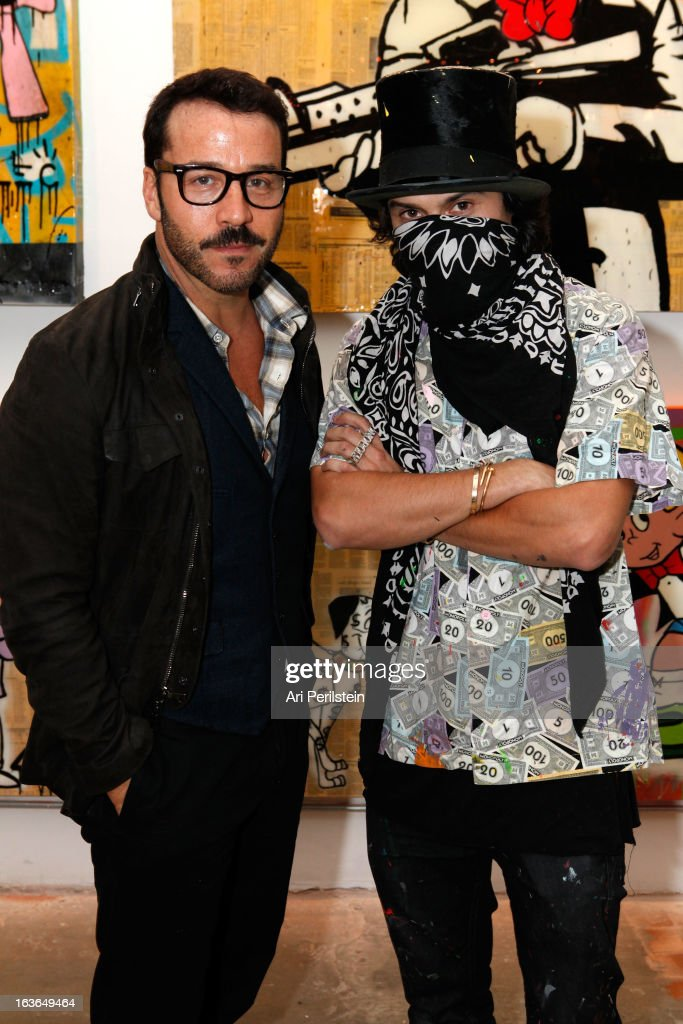 Actor <a gi-track='captionPersonalityLinkClicked' href=/galleries/search?phrase=Jeremy+Piven&family=editorial&specificpeople=206338 ng-click='$event.stopPropagation()'>Jeremy Piven</a> and Alec Monopoly attend Park Place A Solo Show By Alec Monopoly At LAB ART on March 13, 2013 in Los Angeles, California.