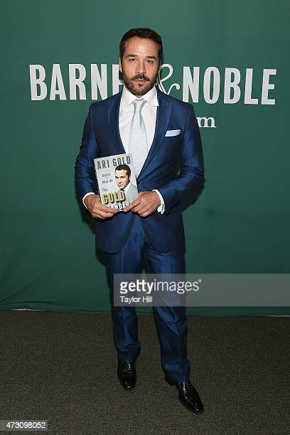 Actor Jeremy Piven in character as 'Ari Gold' attends a book signing for 'The Gold Standard' at Barnes Noble Union Square on May 12 2015 in New York...