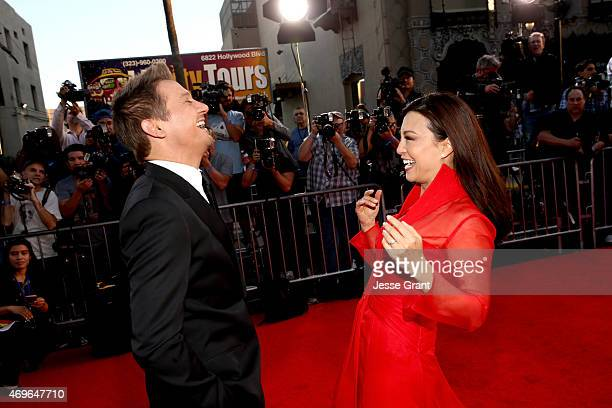 Actor Jeremy Renner and actress MingNa Wen attend the world premiere of Marvel's 'Avengers Age Of Ultron' at the Dolby Theatre on April 13 2015 in...