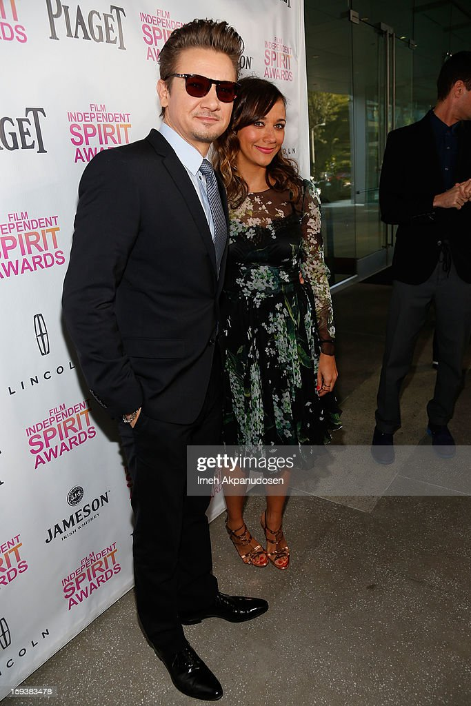Actor Jeremy Renner (L) and actress Rashida Jones attend the 2013 Film Independent Filmmaker Grant And Spirit Award Nominees Brunch at BOA Steakhouse on January 12, 2013 in West Hollywood, California.
