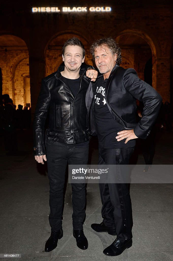 Actor <a gi-track='captionPersonalityLinkClicked' href=/galleries/search?phrase=Jeremy+Renner&family=editorial&specificpeople=708701 ng-click='$event.stopPropagation()'>Jeremy Renner</a> and Designer <a gi-track='captionPersonalityLinkClicked' href=/galleries/search?phrase=Renzo+Rosso&family=editorial&specificpeople=614354 ng-click='$event.stopPropagation()'>Renzo Rosso</a> attend Diesel Black Gold during the Pitti Immagine Uomo 85 on January 8, 2014 in Florence, Italy.