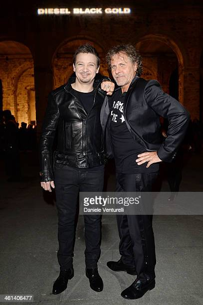 Actor Jeremy Renner and Designer Renzo Rosso attend Diesel Black Gold during the Pitti Immagine Uomo 85 on January 8 2014 in Florence Italy