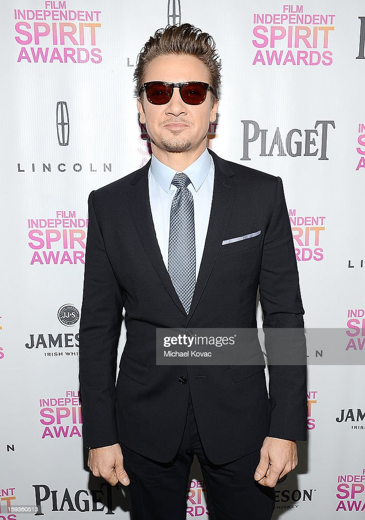 Actor <a gi-track='captionPersonalityLinkClicked' href=/galleries/search?phrase=Jeremy+Renner&family=editorial&specificpeople=708701 ng-click='$event.stopPropagation()'>Jeremy Renner</a> arrives at the 2013 Film Independent Filmmaker Grant And Spirit Awards Nominees Brunch at BOA Steakhouse on January 12, 2013 in West Hollywood, California.