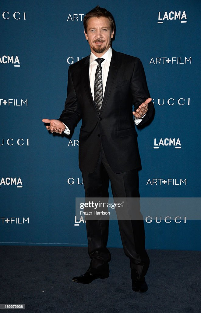 Actor <a gi-track='captionPersonalityLinkClicked' href=/galleries/search?phrase=Jeremy+Renner&family=editorial&specificpeople=708701 ng-click='$event.stopPropagation()'>Jeremy Renner</a> arrives at the LACMA 2013 Art + Film Gala on November 2, 2013 in Los Angeles, California.