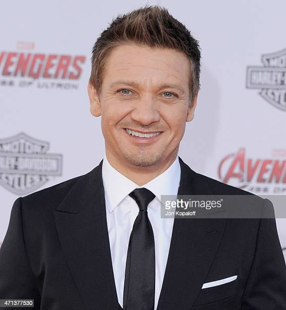 Actor Jeremy Renner arrives at the Los Angeles Premiere Marvel's 'Avengers Age Of Ultron' at Dolby Theatre on April 13 2015 in Hollywood California