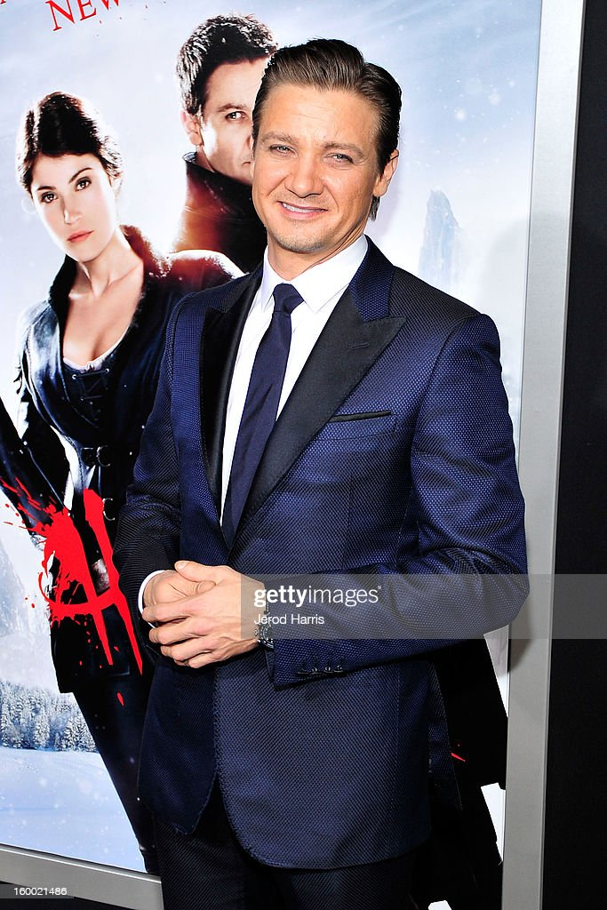 Actor Jeremy Renner arrives at the Los Angeles Premiere of 'Hansel & Gretel: Witch Hunters' at TCL Chinese Theatre on January 24, 2013 in Hollywood, California.