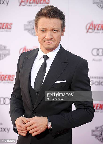 Actor Jeremy Renner arrives at the Los Angeles premiere of Marvel's 'Avengers Age Of Ultron' at Dolby Theatre on April 13 2015 in Hollywood California