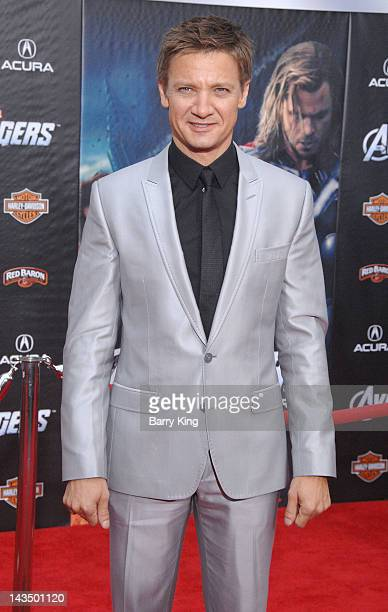 Actor Jeremy Renner arrives at the Los Angeles Premiere of 'The Avengers' at the El Capitan Theatre on April 11 2012 in Hollywood California