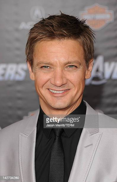 Actor Jeremy Renner arrives at the premiere of Marvel Studios' 'The Avengers' at the El Capitan Theatre on April 11 2012 in Hollywood California