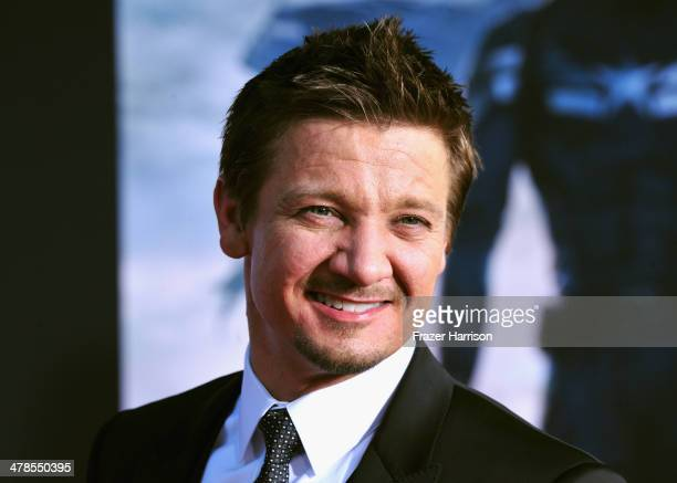 Actor Jeremy Renner arrives at the premiere Of Marvel's 'Captain AmericaThe Winter Soldier at the El Capitan Theatre on March 13 2014 in Hollywood...