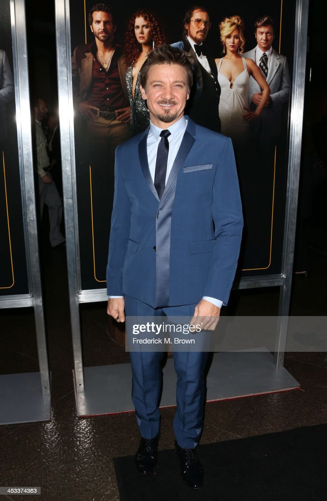 Actor <a gi-track='captionPersonalityLinkClicked' href=/galleries/search?phrase=Jeremy+Renner&family=editorial&specificpeople=708701 ng-click='$event.stopPropagation()'>Jeremy Renner</a> arrives at the special screening of Columbia Pictures and Annapurna Pictures' 'American Hustle' at the Directors Guild Theatre on December 3, 2013 in Los Angeles, California.