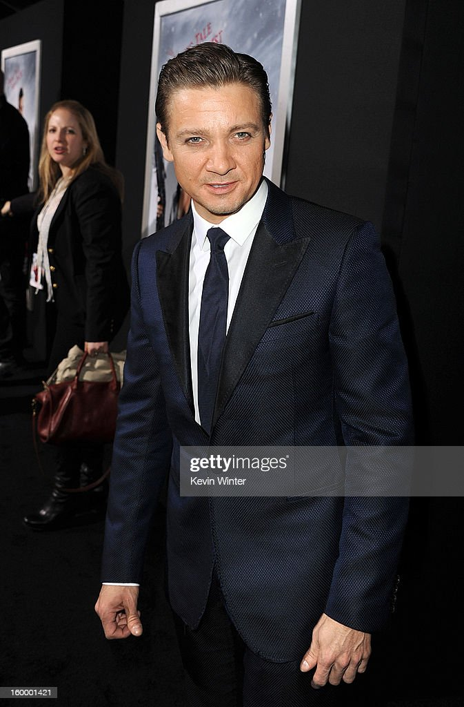 Actor Jeremy Renner arrives for the Los Angeles premiere of Paramount Pictures' 'Hansel And Gretel Witch Hunters' at TCL Chinese Theatre on January 24, 2013 in Hollywood, California.