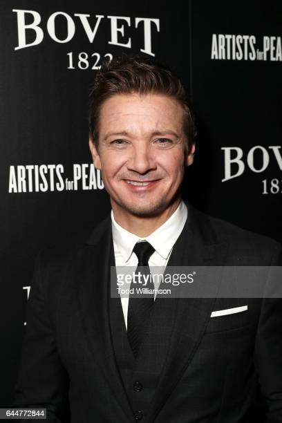 Actor Jeremy Renner attends BOVET 1822 Artists for Peace and Justice Present 'Songs From the Cinema' Benefit on February 23 2017 in Los Angeles...