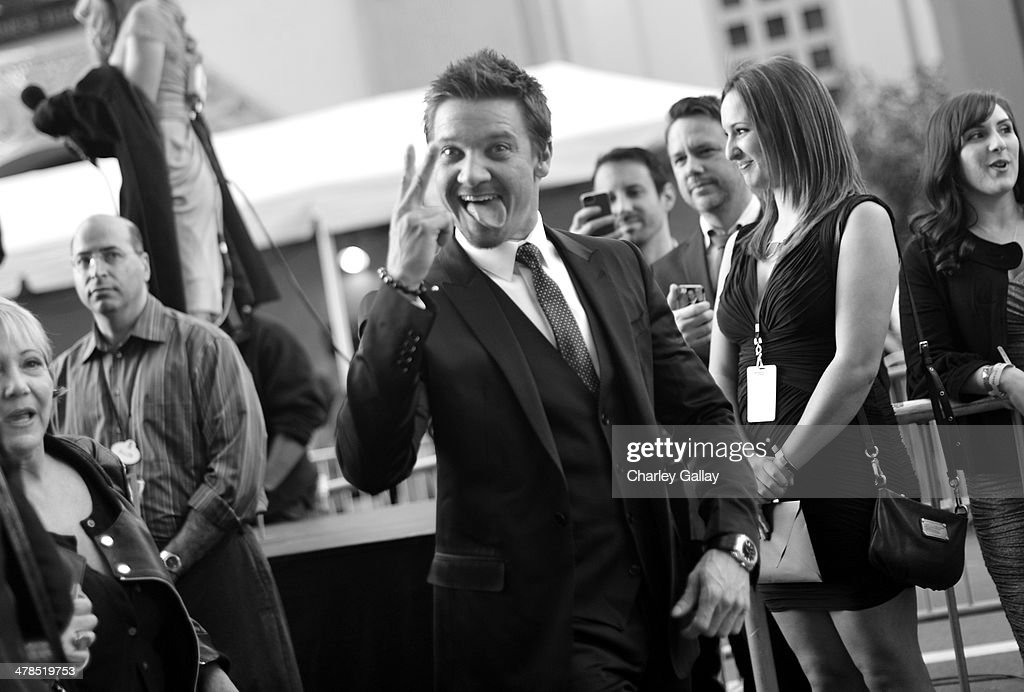 Actor <a gi-track='captionPersonalityLinkClicked' href=/galleries/search?phrase=Jeremy+Renner&family=editorial&specificpeople=708701 ng-click='$event.stopPropagation()'>Jeremy Renner</a> attends Marvel's 'Captain America: The Winter Soldier' premiere at the El Capitan Theatre on March 13, 2014 in Hollywood, California.
