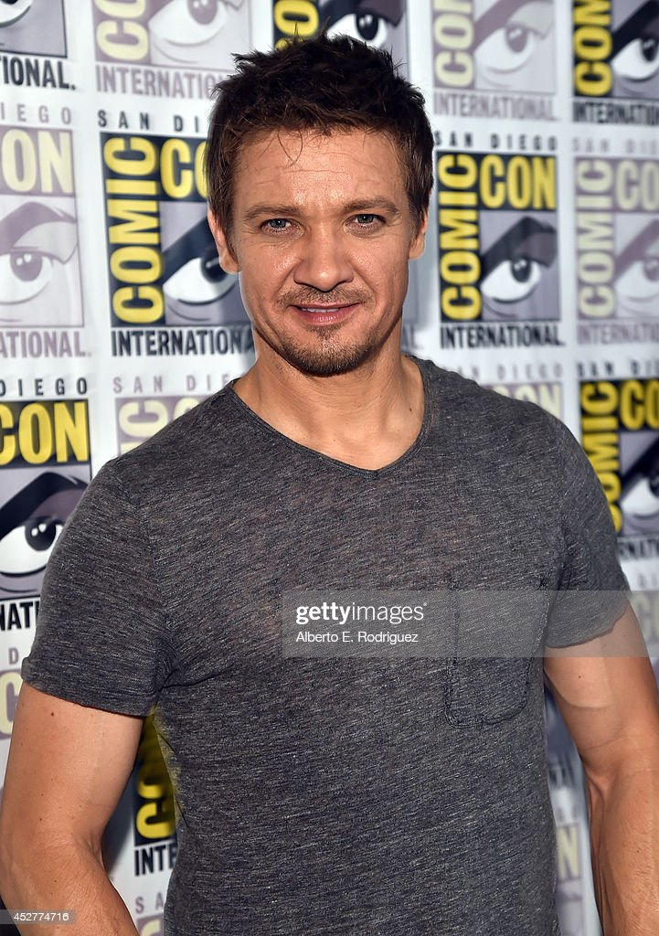 Actor <a gi-track='captionPersonalityLinkClicked' href=/galleries/search?phrase=Jeremy+Renner&family=editorial&specificpeople=708701 ng-click='$event.stopPropagation()'>Jeremy Renner</a> attends Marvel's Hall H Press Line for 'Ant-Man' and 'Avengers: Age Of Ultron' during Comic-Con International 2014 at San Diego Convention Center on July 26, 2014 in San Diego, California.