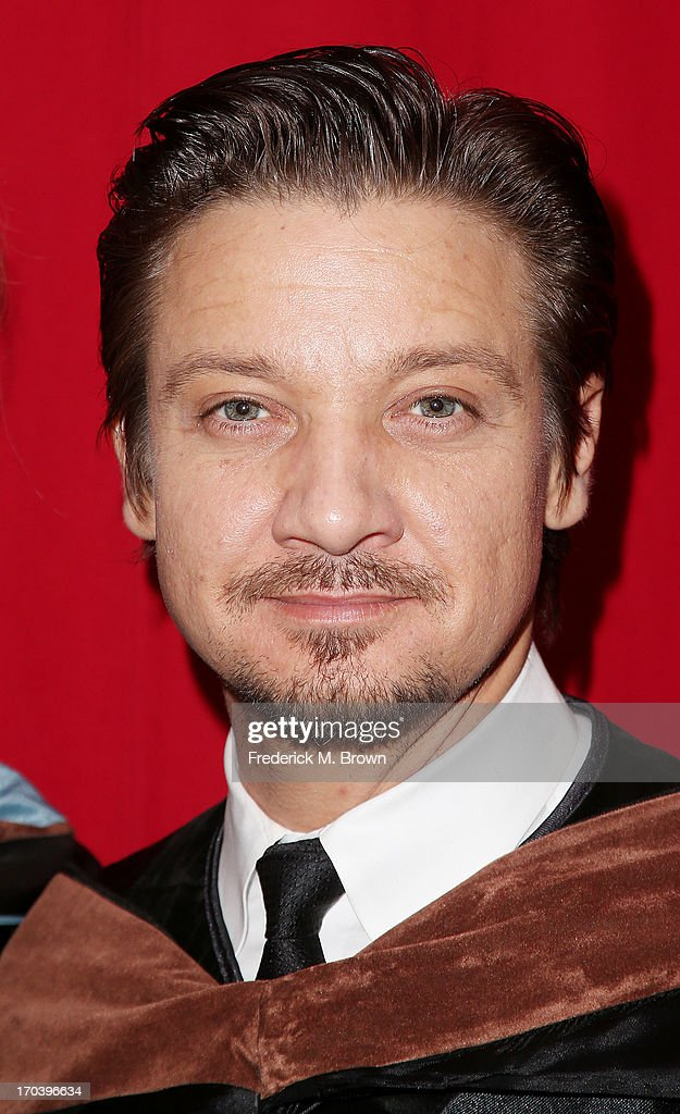 Actor <a gi-track='captionPersonalityLinkClicked' href=/galleries/search?phrase=Jeremy+Renner&family=editorial&specificpeople=708701 ng-click='$event.stopPropagation()'>Jeremy Renner</a> attends the 2013 AFI Conservatory Commencement Ceremony at the El Capitan Theatre on June 12, 2013 in Hollywood, California.