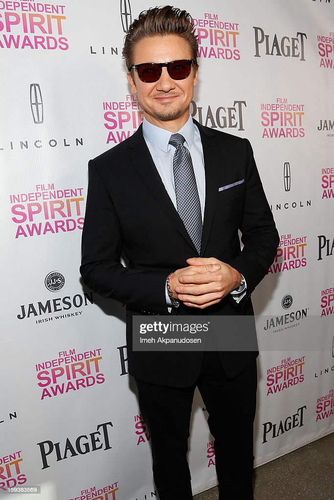 Actor <a gi-track='captionPersonalityLinkClicked' href=/galleries/search?phrase=Jeremy+Renner&family=editorial&specificpeople=708701 ng-click='$event.stopPropagation()'>Jeremy Renner</a> attends the 2013 Film Independent Filmmaker Grant And Spirit Award Nominees Brunch at BOA Steakhouse on January 12, 2013 in West Hollywood, California.