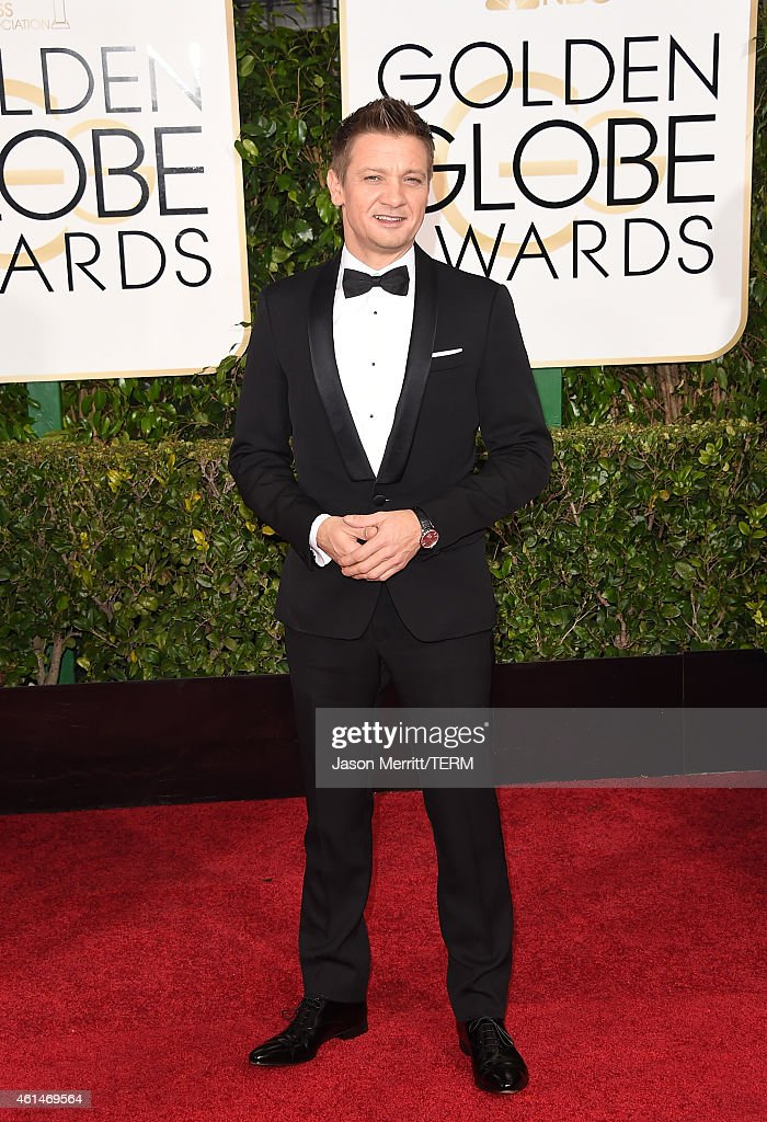 Actor <a gi-track='captionPersonalityLinkClicked' href=/galleries/search?phrase=Jeremy+Renner&family=editorial&specificpeople=708701 ng-click='$event.stopPropagation()'>Jeremy Renner</a> attends the 72nd Annual Golden Globe Awards at The Beverly Hilton Hotel on January 11, 2015 in Beverly Hills, California.