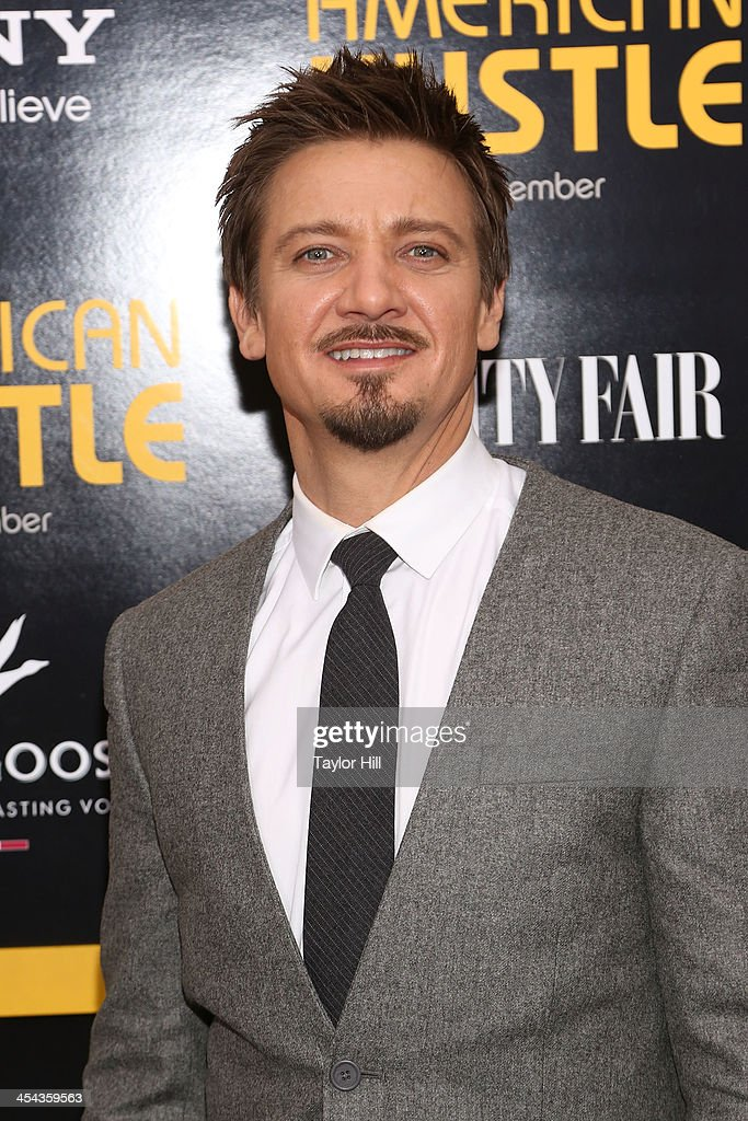Actor <a gi-track='captionPersonalityLinkClicked' href=/galleries/search?phrase=Jeremy+Renner&family=editorial&specificpeople=708701 ng-click='$event.stopPropagation()'>Jeremy Renner</a> attends the 'American Hustle' screening at Ziegfeld Theater on December 8, 2013 in New York City.