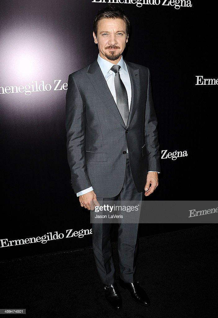 Actor <a gi-track='captionPersonalityLinkClicked' href=/galleries/search?phrase=Jeremy+Renner&family=editorial&specificpeople=708701 ng-click='$event.stopPropagation()'>Jeremy Renner</a> attends the Ermenegildo Zegna Boutique grand opening on November 7, 2013 in Beverly Hills, California.