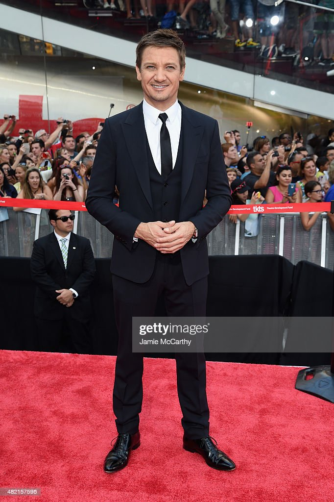 Actor Jeremy Renner attends the 'Mission Impossible - Rogue Nation' New York premiere at Duffy Square in Times Square on July 27, 2015 in New York City.