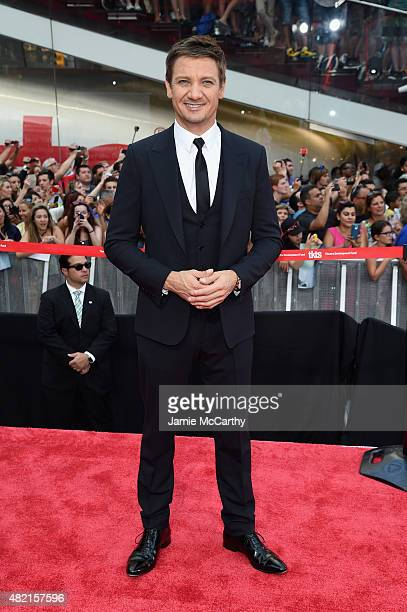 Actor Jeremy Renner attends the 'Mission Impossible Rogue Nation' New York premiere at Duffy Square in Times Square on July 27 2015 in New York City