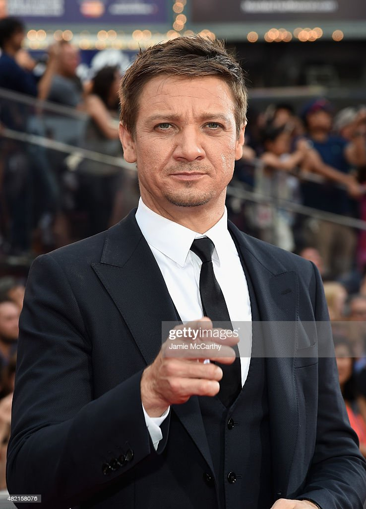 Actor <a gi-track='captionPersonalityLinkClicked' href=/galleries/search?phrase=Jeremy+Renner&family=editorial&specificpeople=708701 ng-click='$event.stopPropagation()'>Jeremy Renner</a> attends the 'Mission Impossible - Rogue Nation' New York premiere at Duffy Square in Times Square on July 27, 2015 in New York City.