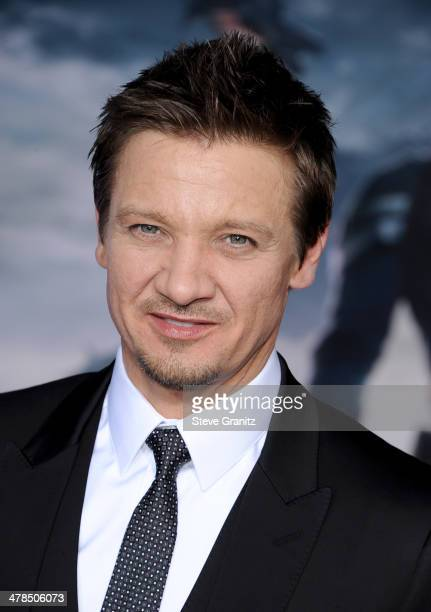 Actor Jeremy Renner attends the premiere of 'Captain America The Winter Soldier' at the El Capitan Theatre on March 13 2014 in Hollywood California