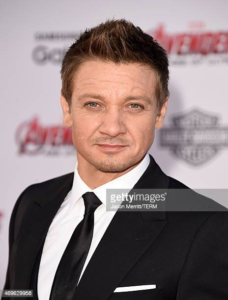 Actor Jeremy Renner attends the premiere of Marvel's 'Avengers Age Of Ultron' at Dolby Theatre on April 13 2015 in Hollywood California