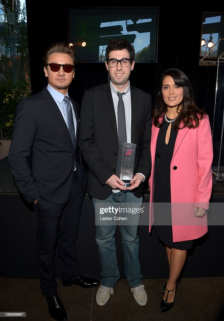 Actor <a gi-track='captionPersonalityLinkClicked' href=/galleries/search?phrase=Jeremy+Renner&family=editorial&specificpeople=708701 ng-click='$event.stopPropagation()'>Jeremy Renner</a>, Director Adam Leon and actress <a gi-track='captionPersonalityLinkClicked' href=/galleries/search?phrase=Salma+Hayek&family=editorial&specificpeople=201844 ng-click='$event.stopPropagation()'>Salma Hayek</a> attend the Film Independent Filmmaker Grant And Spirit Awards Nominees Brunch at BOA Steakhouse on January 12, 2013 in West Hollywood, California.