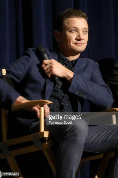 Actor Jeremy Renner on stage during the SAG QA with the cast of 'Wind River' at Harmony Gold Theatre on July 25 2017 in Los Angeles California