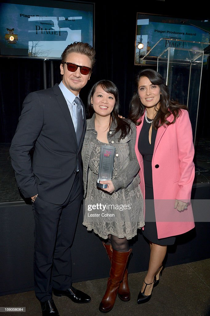 Actor <a gi-track='captionPersonalityLinkClicked' href=/galleries/search?phrase=Jeremy+Renner&family=editorial&specificpeople=708701 ng-click='$event.stopPropagation()'>Jeremy Renner</a>, Producer Mynette Louie and actress <a gi-track='captionPersonalityLinkClicked' href=/galleries/search?phrase=Salma+Hayek&family=editorial&specificpeople=201844 ng-click='$event.stopPropagation()'>Salma Hayek</a> attend the Film Independent Filmmaker Grant And Spirit Awards Nominees Brunch at BOA Steakhouse on January 12, 2013 in West Hollywood, California.