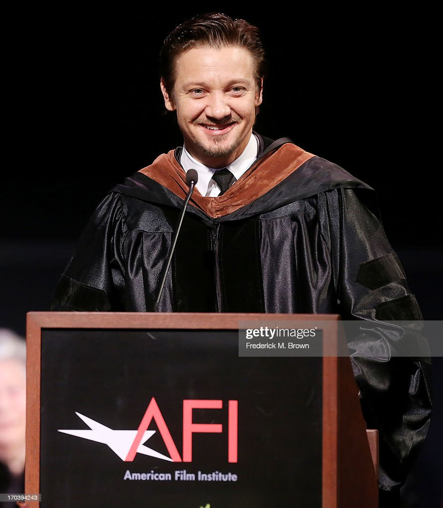 Actor <a gi-track='captionPersonalityLinkClicked' href=/galleries/search?phrase=Jeremy+Renner&family=editorial&specificpeople=708701 ng-click='$event.stopPropagation()'>Jeremy Renner</a> speaks during the 2013 AFI Conservatory Commencement Ceremony at the El Capitan Theatre on June 12, 2013 in Hollywood, California.